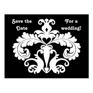 Black and white damask wedding save the date postcard