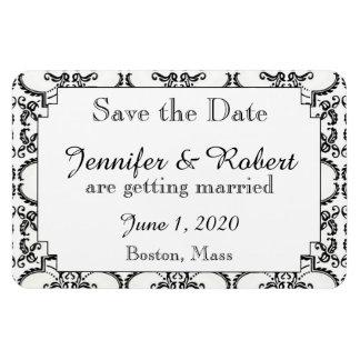 Black and White Damask Wedding Save the Date Rectangular Photo Magnet