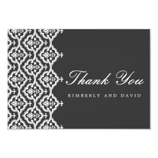 Black and White Damask Wedding Thank You Card Custom Announcements
