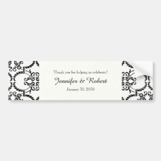 Black and White Damask Wedding Water Bottle Bumper Sticker