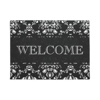 Black and White Damask Welcome Doormat