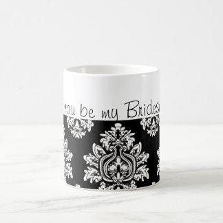 black and white damask Will you be my Bridesmaid? Basic White Mug