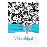 Black and White Damask with Aqua FAUX Ribbon Personalised Invitations