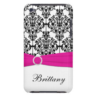Black and White Damask with Fuchsia Touch Barely There iPod Cases