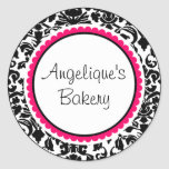 Black and White Damask with pink custom label