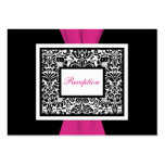 Black and White Damask with Pink Enclosure Card