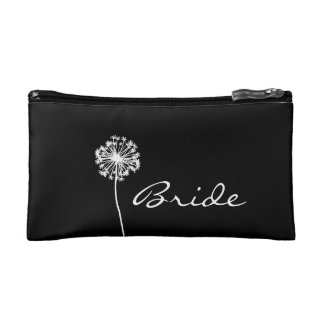 Black and White Dandelion Bride's Makeup Bag