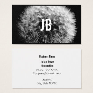 Black and White Dandelion Business Card