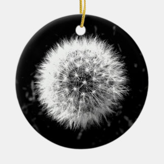 Black and white dandelion christmas ornament