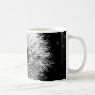 Black and white dandelion coffee mug