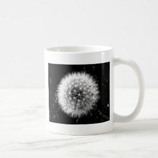Black and white dandelion coffee mug
