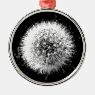 Black and white dandelion Silver-Colored round decoration