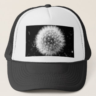 Black and white dandelion trucker hat