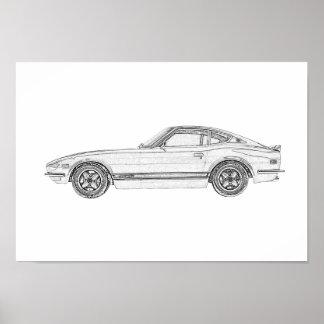 Black and White Datsun 240Z Illustration Value Poster
