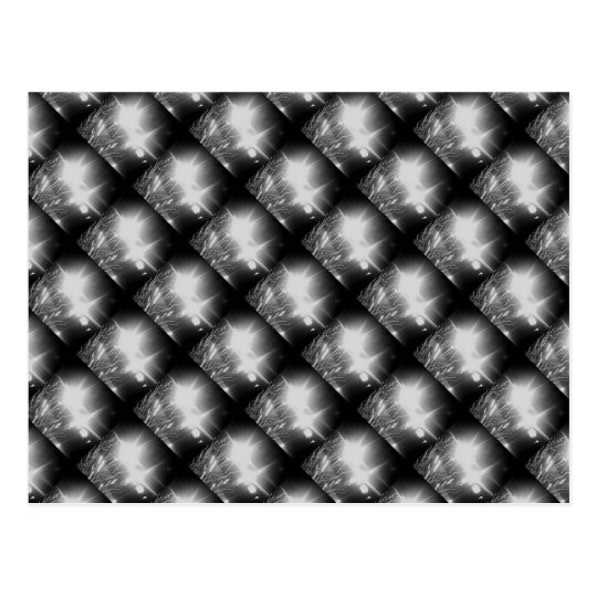 Black and white dazzle check fireworks postcard
