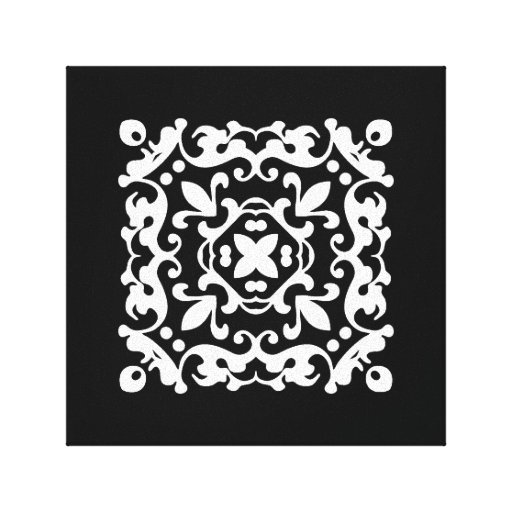 Black and White Decorative Damask Motif Canvas Print