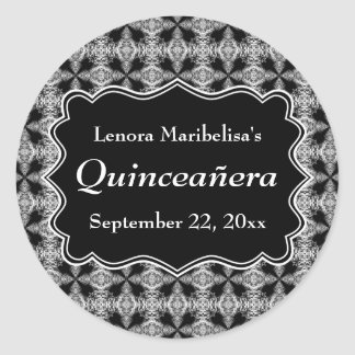Black and White Decorative Pattern Quinceanera Classic Round Sticker