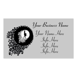 Black And White Decorative Silhouette Girl Business Cards