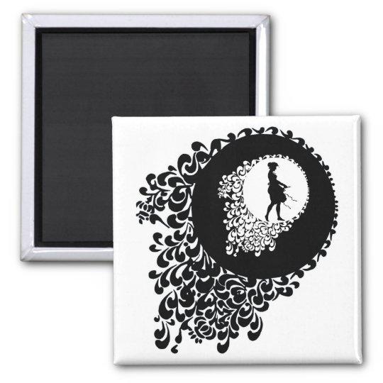 Black And White Decorative Silhouette Girl Square Magnet