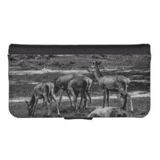 Black and White Deer Herd, Animal Photography iPhone 5 Wallet Cases