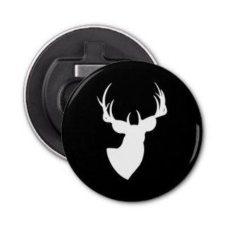 Black and White Deer Silhouette Bottle Opener