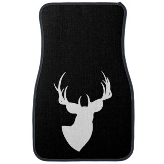 Black and White Deer Silhouette Car Mat