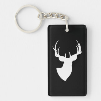 Black and White Deer Silhouette Key Ring