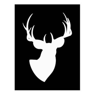 Black and White Deer Silhouette Postcard
