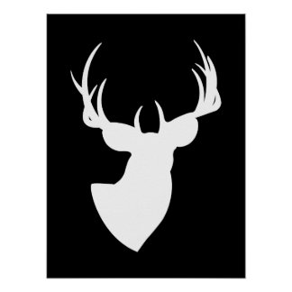 Black and White Deer Silhouette Poster
