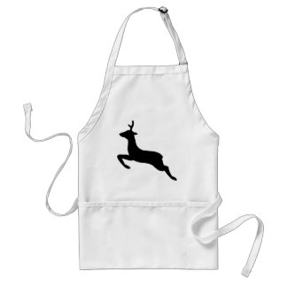 Black and White Deer Silhouette Standard Apron