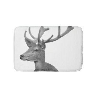 Black and white deer woodland animal photo bath mats