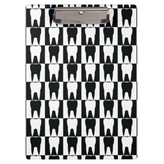 black and white dental pattern clipboard