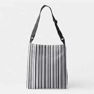 Black and white designer stripes - High Quality Crossbody Bag