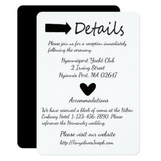 Black And White Details Heart And Arrow Wedding 11 Cm X 16 Cm Invitation Card