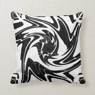 Black and white Devil Swirls Throw Pillow