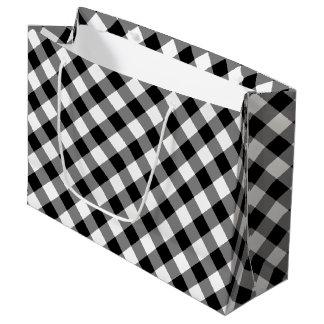 Black and White Diagonal Plaid Gift Bag