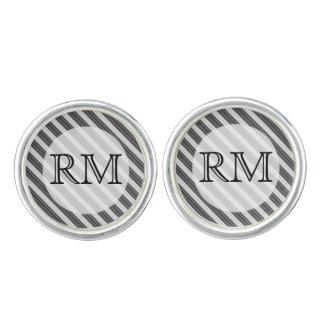 Black and White Diagonal Stripe Cufflinks