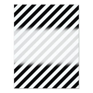 Black and White Diagonal Stripes. 11 Cm X 14 Cm Invitation Card