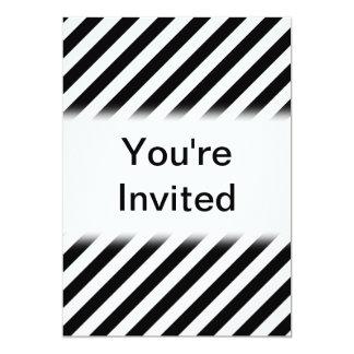 Black and White Diagonal Stripes. 13 Cm X 18 Cm Invitation Card