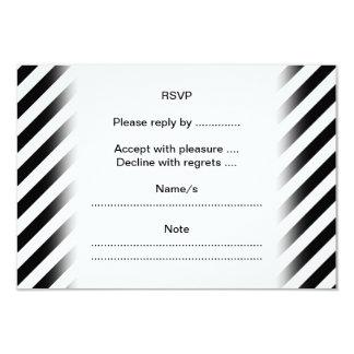 Black and White Diagonal Stripes. 9 Cm X 13 Cm Invitation Card