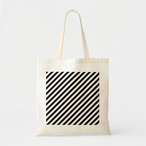 Black and White Diagonal Stripes. Canvas Bags