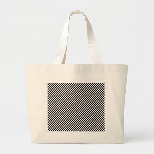 Black and white diagonal stripes. canvas bag