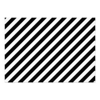 Black and White Diagonal Stripes Personalized Invitation