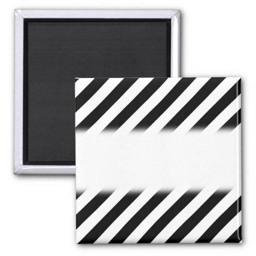 Black and White Diagonal Stripes. Refrigerator Magnets