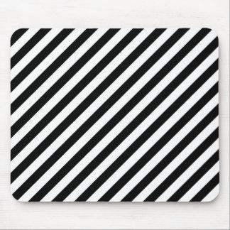 Black and White Diagonal Stripes. Mouse Mat