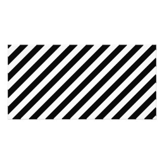 Black and White Diagonal Stripes. Picture Card