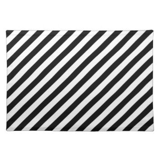 Black and White Diagonal Stripes - Placemat