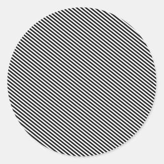 Black and White Diagonal Stripes Round Stickers