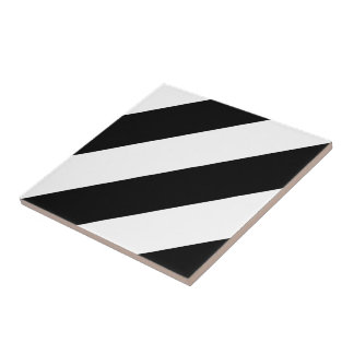 Black and White Diagonal Stripes Tile