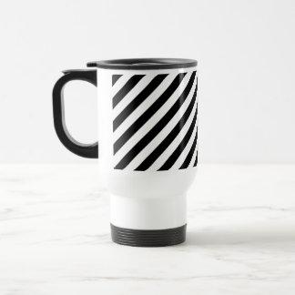 Black and White Diagonal Stripes. Travel Mug